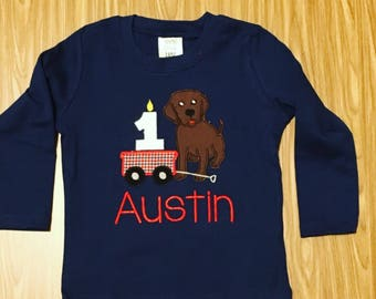 Puppy 1 2 3 birthday shirt, First second Birthday Shirt, puppy dog birthday shirt, embroidered, monogrammed, custom birthday shirt any color
