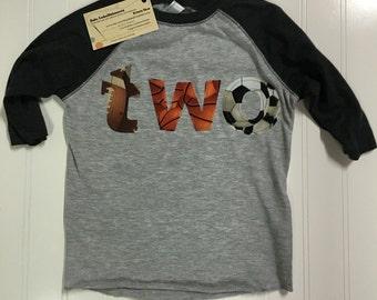 Two football, basketball, soccer shirt, two football, baseball, soccer shirt, 2nd birthday footballl theme shirt, boys second birthday shirt