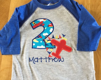 airplane birthday shirt, 1 2 3 4 5 Birthday Shirt, any colors Birthday shirt, plane shirt, monogrammed personalize raglan red blue yellow