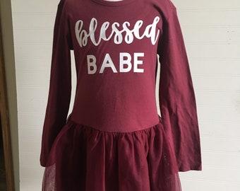Blessed Babe tutu dress long sleeve 4t RTS, maroon fall colors girls tutu dress Blessed Babe vinyl graphic dress, girls fall colors dress