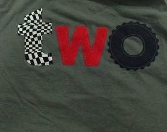 2 Racecar birthday shirt, monster truck wheel birthday, boys two birthday shirt, wheel race hot wheels car, checkered flag 2nd birthday, red