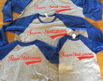 Family baseball raglan, custom names baseball family shirts, coordinating baseball party shirts, viynl baseball shirts, red blue family