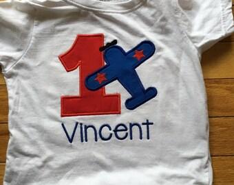 airplane 1 2 3 birthday shirt, Time flies theme, plane shirt, embroidered 1 2 3 monogrammed, custom birthday shirt any color or age,