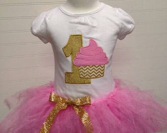 cupcake birthday shirt, pink and gold any color birthday, cupcake birthday party, pink snd gold birthday, momogram cupcake, custom embroider