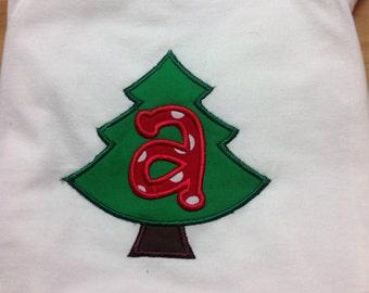 Monogram Christmas tree shirt, personalized christmas shirt, embroidered Christmas shirt, family Christmas shirts, girl boy santa visit