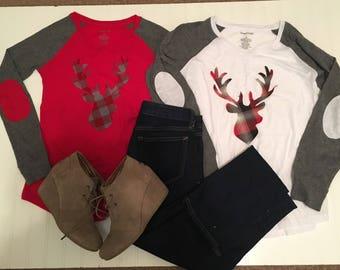 Buffalo plaid deer silhouette womens shirt, ladies wintet raglan shirt, elbow patches, buffalo plaid flannel deer head, red gray womens shir