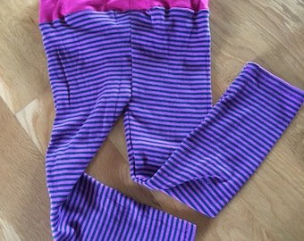Girls knit pants, striped fuschia and navy with pink waist band, toddler girls pants, baby girls clothes, light weight pants, girls fashion