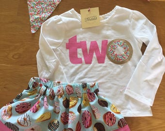 girls two donut party shirt, donut grow up birthday party, birthday donut shirt, sprinkles pink raglan shirt, 1 2 3 4 donut birthday, party