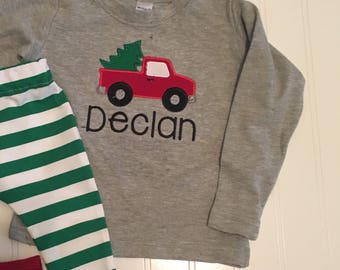 Truck carrying Christmas tree shirt, boys personalized christmas shirt, truck christmas shirt, baby's first christmas, truck Christmas tree