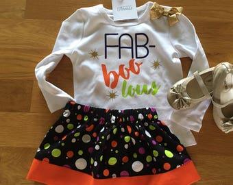 Fab boo lous girls halloween shirt, fabulous girls gold, lime green orange purple, halloween fabulous shirt, halloween mom shirt, girls mom