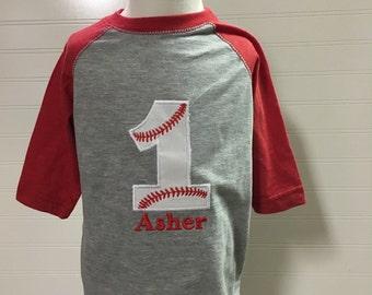 Baseball birthday shirt, baseball 1st birthday, boys baseball 1, reglan sleeve red