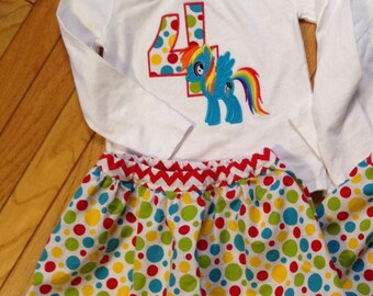 Girls rainbow pony birthday shirt, girls first, second, third, fourth birthday shirt, rainbow dash birthday, my little pony, 1 2 3 4 5