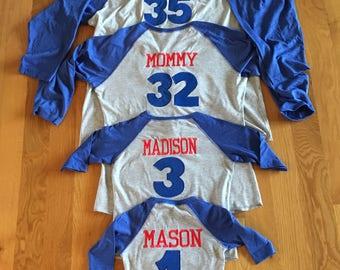 Family kids baseball raglan, custom names baseball family shirts, coordinating baseball party shirts, monogram baseball shirts, embroidery