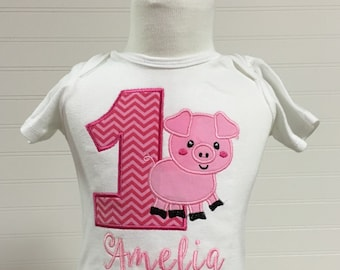 Pig barnyard farmyard, charolettes web birthday theme shirt, embroidered pig any number shirt, animal birthday theme, pig cow sheep horse