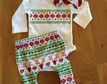 reindeer sweater pattern pants, Christmas baby pants, Christmas shirt reindeer ugly sweater pattern, reindeer pants, christmas baby clothes,
