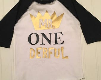 Mr onederful raglan shirt, boy 1st birthday shirt, gold black boys one shirt, graphic toddler tshirt, where the wild things are, mr one der