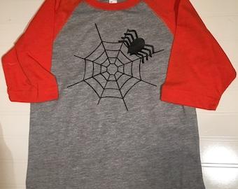 Spider raglan halloween orange shirt, halloween raglan shirt boutique fall clothes, halloween boy outfit, free monogram, orange black raglan