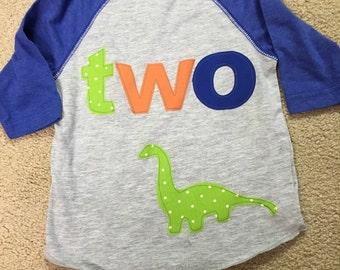 TWO dinosaur birthday t shirt, brontasaurus shirt, boys dino birthday shirt, 2nd birthday dinosaur shirt, raglan orange green blue bronty