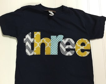 Three 3rd Birthday Shirt, 3rd birthday Boys third Birthday shirt, orange, teal and gray colors pattern, boys birthday shirt