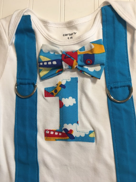 airplane time flies 1 birthday onesie RTS bowtie, suspenders red blue yellow teal, ready to ship time flies theme 12-18m baby boy 1st birthd