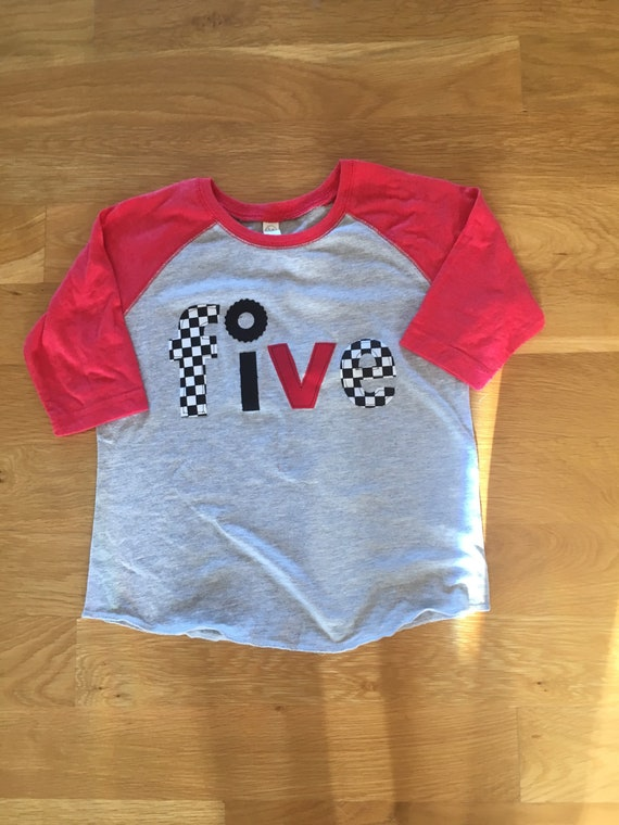 Five Racecar birthday shirt  5 birthday monster truck wheel birthday, boys birthday shirt, wheel race car, checkered race flag, boys birthda