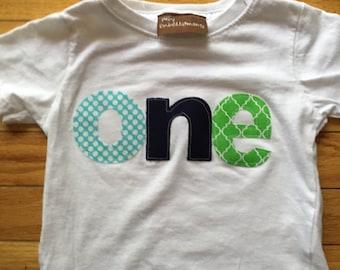 Boys 1st birthday shirt, One First Birthday Shirt, navy blue lime green teal colors , baby boy birthday, customizable fabric letters boys