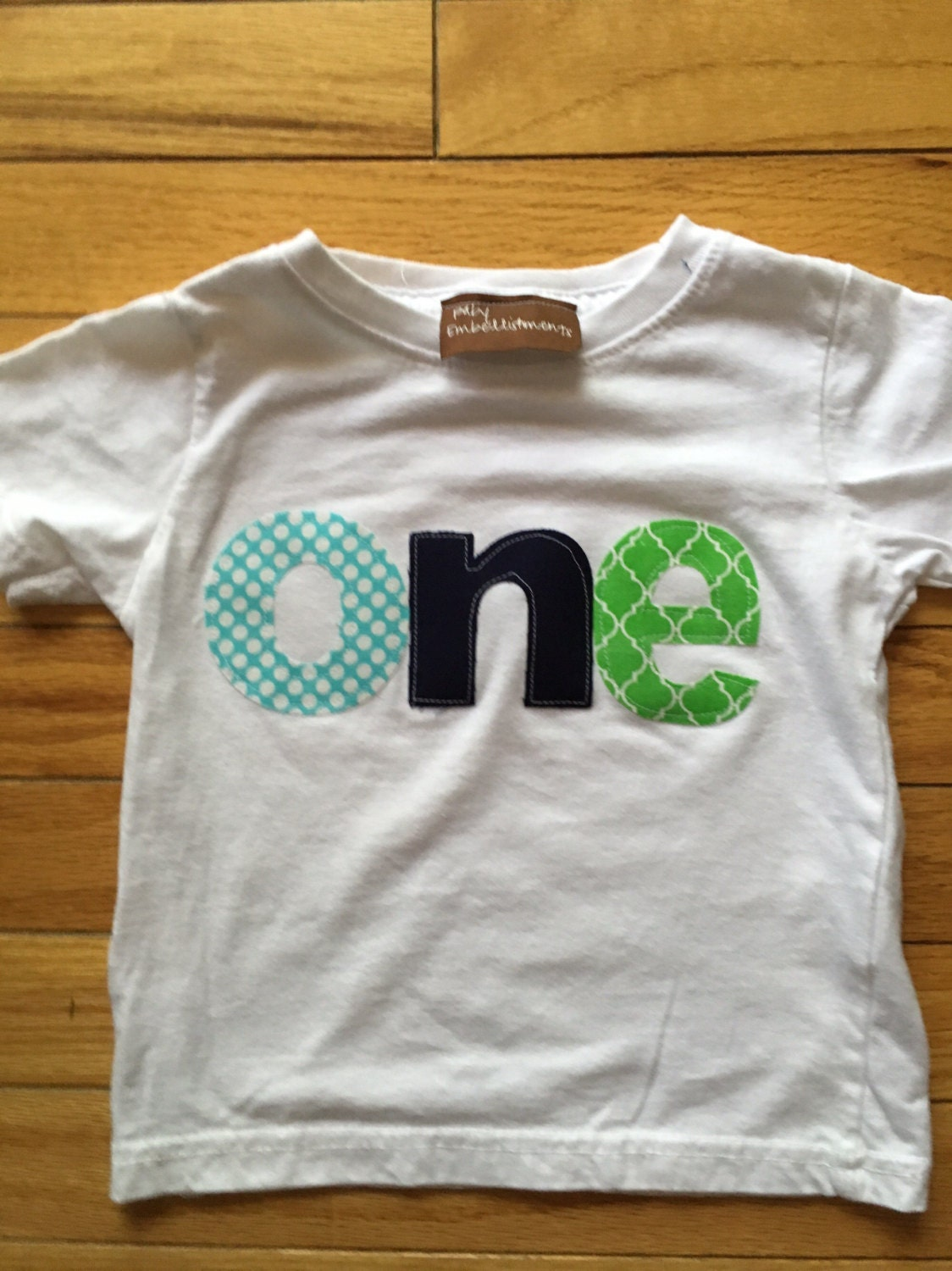 Boys 1st Birthday Shirt One First Navy Blue Lime Green Teal Colors Baby Boy Customizable Fabric Letters