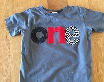 Racecar birthday shirt, one 1st birthday monster truck wheel birthday, boys birthday shirt, wheel race car, checkered race flag, boys birthd