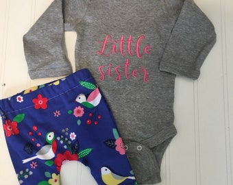 Little sister onesie new baby sibling onesie, little sister, embroidered, custom shirt, coordinating sibling shirts new baby clothes