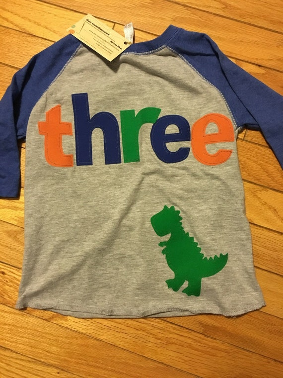 Three Dinosaur T Rex Birthday Raglan Boys