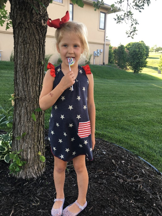 Girls Stars and Stripes patriotic racerback shirtdress American stars tank, 4th of july girl, Independence Day clothes, mom and me set