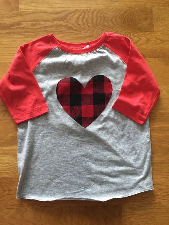 Buffalo plaid valentines day flannel heart raglan onesie or shirt, baby big kid sizes, monogram available, Valentine's Day shirt boy or girl