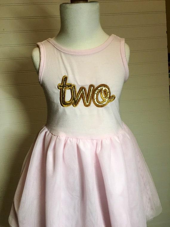 Two gold Birthday girls tutu dress, pink and gold two birthday, gold pink birthday, sparkly gold girls birthday shirt, embroidery tutu dress