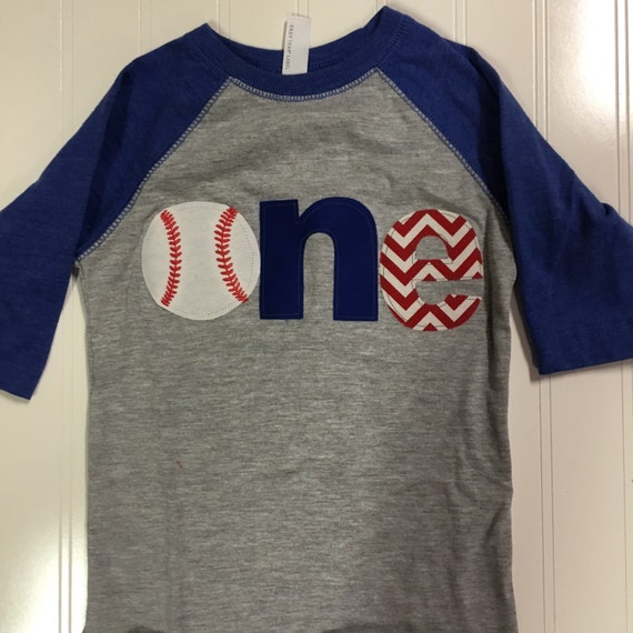 One Baseball Raglan Shirt Royal Blue First Birthday Theme 1st Sports