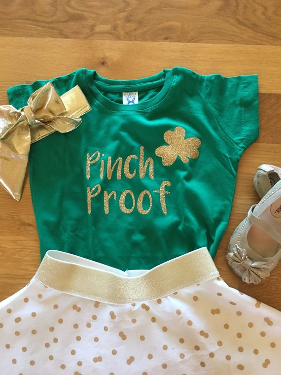Pinch Proof gold and green shamrock shirt, St Patrick's Day shirt, sparky gold shamrock, girls St Patricks Day shirt, leprechaun shirt,green