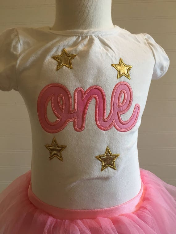 gold stars one shirt, pink and gold one birthday, gold one birthday, sparkly stars gold 1, girls birthday shirt, embroidery, baby stars