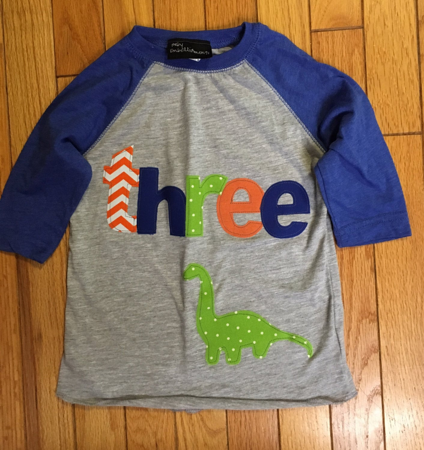 Three Dinosaur Birthday T Shirt Boys Dino 3rd Boy Raglan Brontasaurus Lime Green Blue Orang
