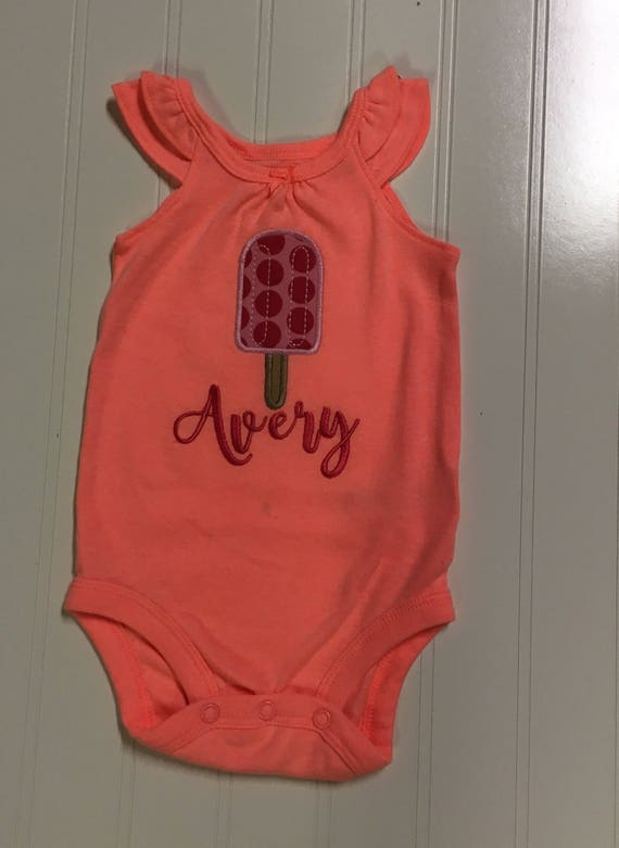 Popsicle ruffle tank onesie, baby girls orange summer tank top, popsicle shirt, pink chevron girls shirt, baby girls clothes, orange onesie