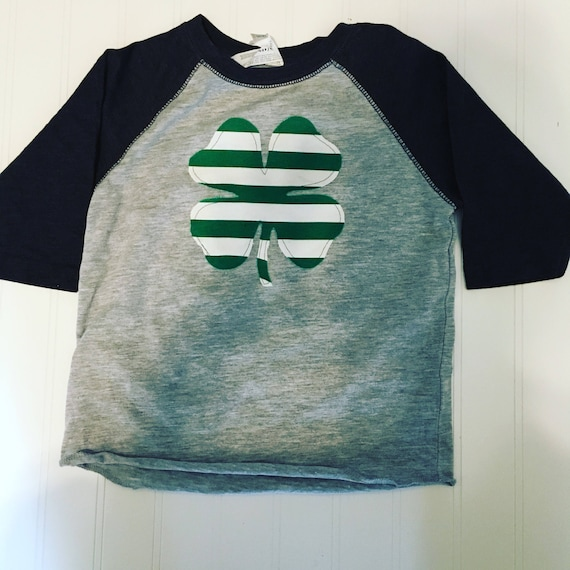 shamrock raglan shirt, St Patrick's Day girls boys shirt, brother-sister coordinating shirts green and white stripe applique