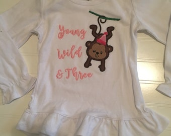 Monkey birthday shirt, young wild and three any number birthday, monkey theme party, animal theme party