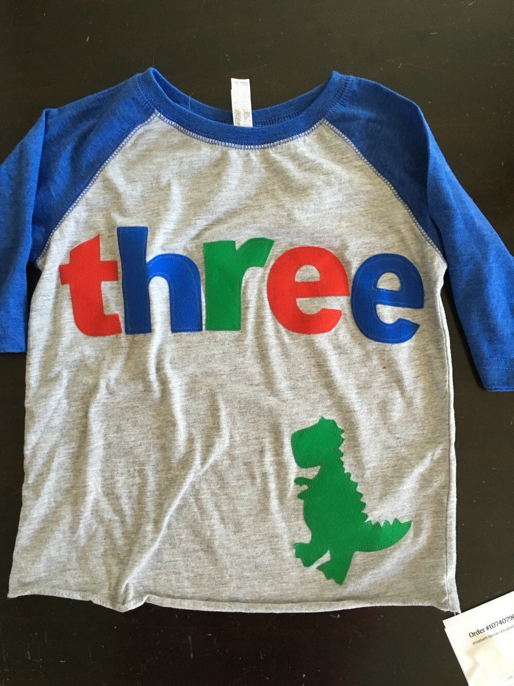 T Rex Birthday Shirt Boys Three Dino 3rd Dinosaur Raglan Style Red Blue Green
