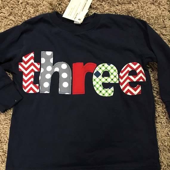 Three 3rd Birthday Shirt, 3rd birthday Boys third Birthday shirt, orange, teal and gray colors pattern, boys birthday shirt