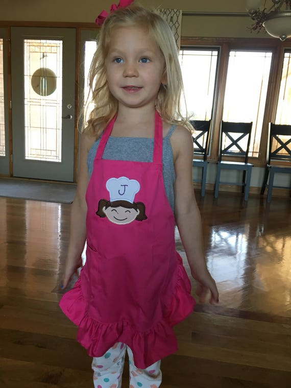 Baker girl embroidered apron with monogram chef hat, girls apron, christmas gift, mini baker apron, cookie baking apron, little girl apron
