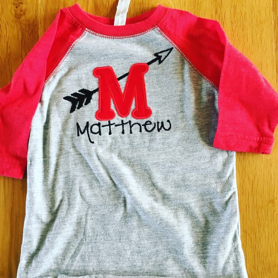 Cupids Arrow Monogram Valentines Day raglan, red sleeve raglan monogram arrow, sibling valentines day shirts, any name monogram valentines