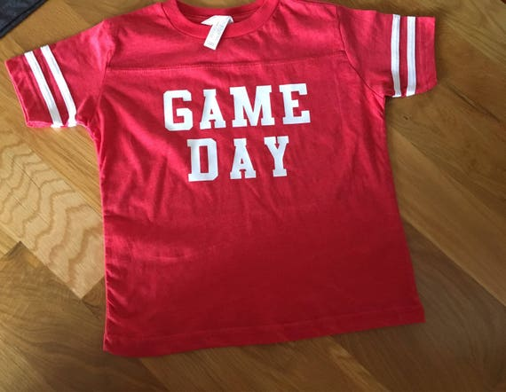 Football Game Day shirt, toddler big kids adults colored game day shirt, red, purple, green, blue, black, gray football team colors shirt