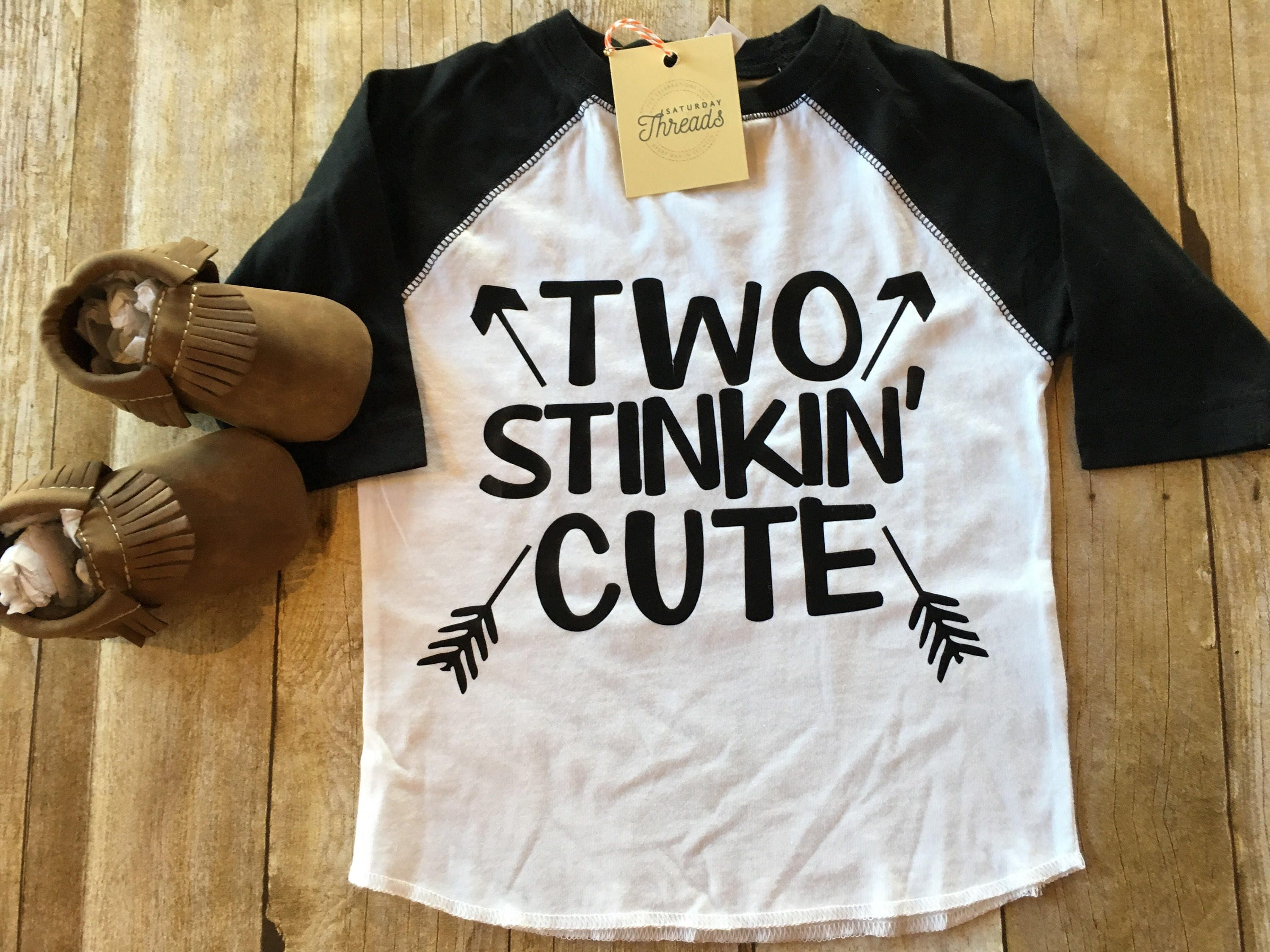 Two Stinkin Cute Raglan Shirt Boy 2nd Birthday Boho Style Boys Graphic Toddler Tshirt Clothes