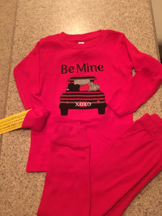 Kids Valentines Day pajamas, Be Mine Truck wth hearts embroidered boys velwntknes day pjs