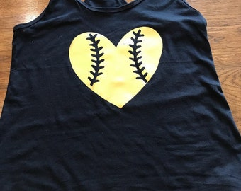 Baseball softball love heart adult shirt tank, kids baseball shirt, baseball tank top, mom baseball love shirt, baseball mom, softball mom
