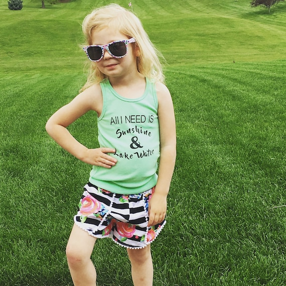 All I need is sunshine and lake water girls graphic tank girl clothes, summer clothes, baby  girls beach wear, girls clothes, girl shorts