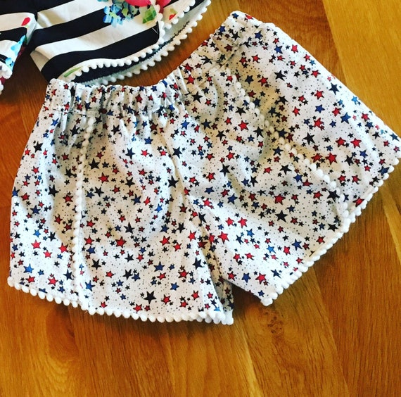 4th of july stars patriotic girls coachella style pom pom trim shorts, toddler girl clothes, summer clothes, girls patriotic clothes flag